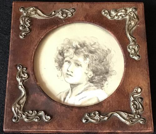 Antique Leather & Brass Photo Frame (1 of 3)