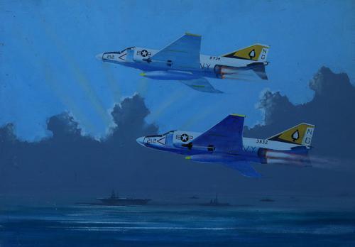 Fighter jets over a battle fleet by John Pooler (1 of 4)