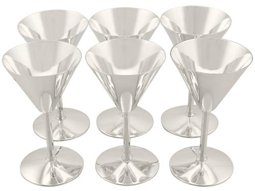 Sterling Silver Cocktail Glasses Set of Six - Art Deco Style - Vintage 1952 (1 of 9)