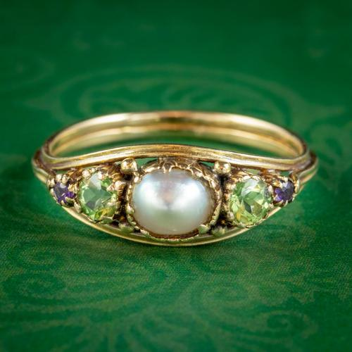 Antique Suffragette Ring Pearl Amethyst Peridot 18ct Gold Locket Back c.1910 (1 of 7)
