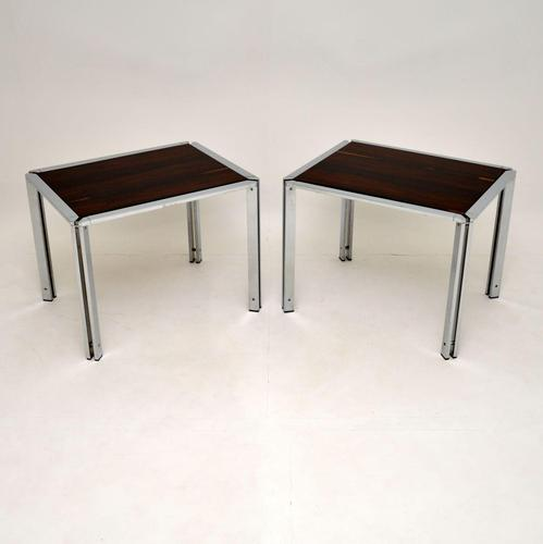 Pair of Vintage Italian Rosewood & Chrome Side Tables (1 of 8)