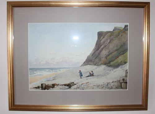 Antique Original Watercolour - A day at the Beach - Mary Sophia Godlee 1860-1932 (1 of 5)