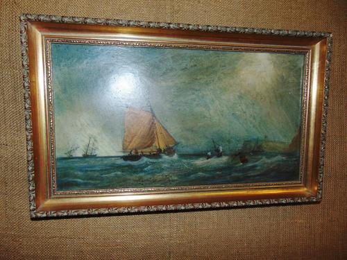 Oil on Canvas 'Storm off Whitby' by Fielding (1 of 6)