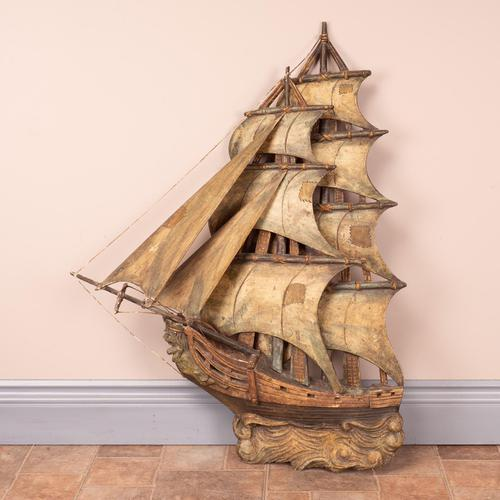 Carved Wooden Galleon Model (1 of 9)