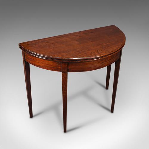 Antique Folding Tea Table, English, Mahogany, Side, Demi Lune, Georgian c.1800 (1 of 12)
