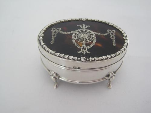 Edwardian Silver & Tortoiseshell Oval Jewellery / Trinket Box (1 of 7)