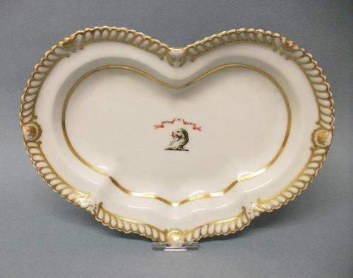 Chamberlain's Worcester Kidney Shape Armorial Dessert Dish c.1820-1830 (1 of 6)