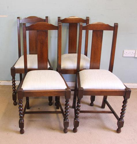Antique Set of Four Oak Dining Chairs (1 of 9)