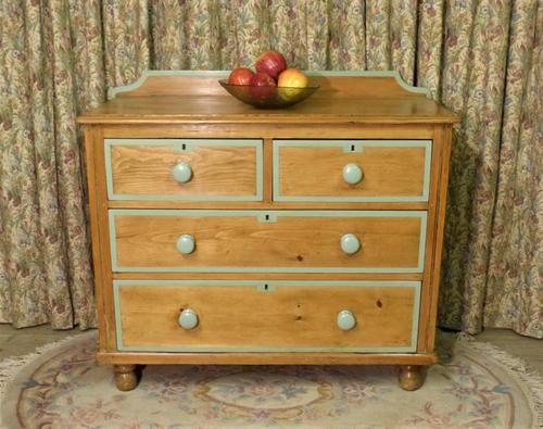 Victorian Stripped Pine Chest of Drawers Sage Painted Trim (1 of 8)