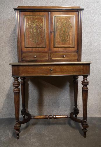 19th Century French Rosewood & Brass Inlaid Bonheur Du Jour (1 of 12)