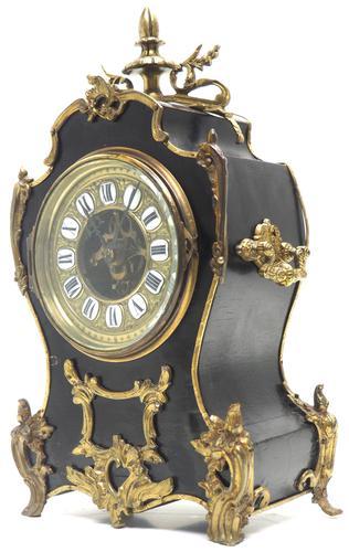 Fine French Ebony & Ormolu Boulle Mantel Clock – Farcot Skelton Dial 8 Day Mantle Clock (1 of 9)