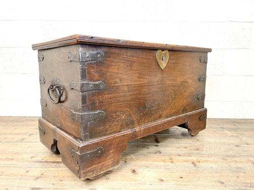 Antique Mahogany Metal Bound Trunk with Wheels (1 of 10)