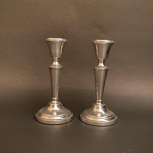 Pair of Silver Simple Round Pedestal Candlesticks (1 of 7)