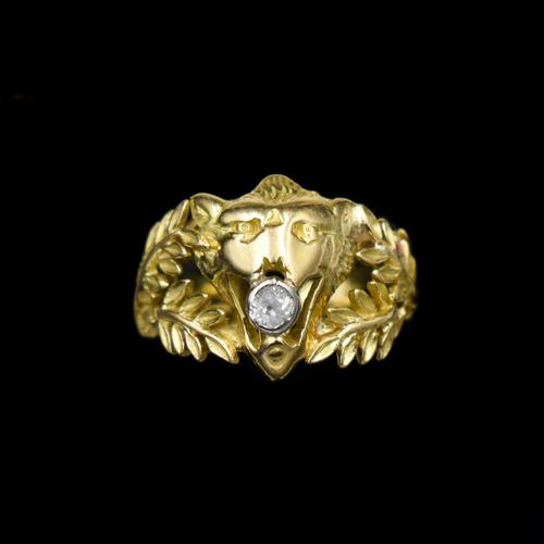 Antique Diamond Lions Head and Laurel Leaf 18ct 18K Yellow Gold Ring (1 of 9)