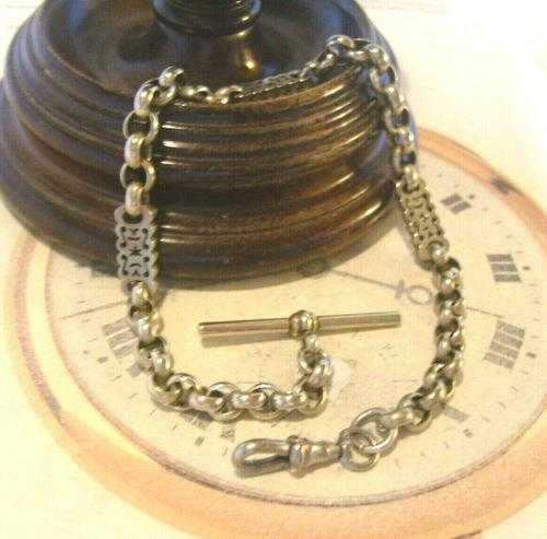 Antique Pocket Watch Chain 1890s Victorian Large Silver Nickel Fancy Link Albert (1 of 12)