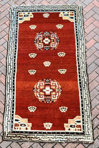 Antique Tibetan small carpet 229x121cm (1 of 6)