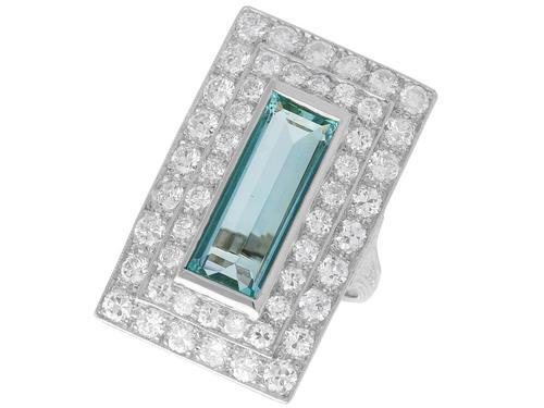 3.51ct Aquamarine & 3.72ct Diamond Platinum Dress Ring - Vintage c.1940 (1 of 9)