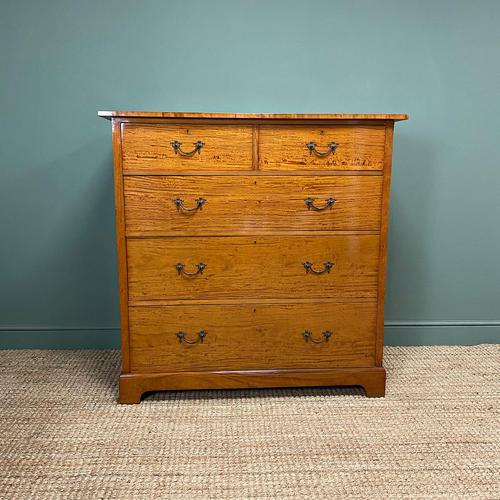 Striking Victorian Satinwood Antique Chest of Drawers (1 of 7)