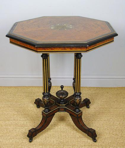 Outstanding Aesthetic Ebonised Birds Eye Maple & Gilt Bronze Table (1 of 10)