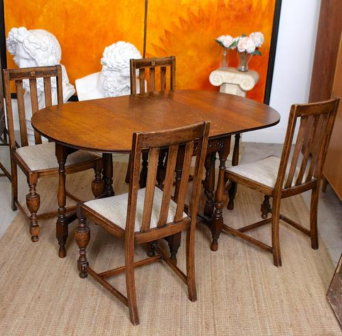 Oak Gateleg Dining Table & 4 Chairs Arts Crafts (1 of 17)