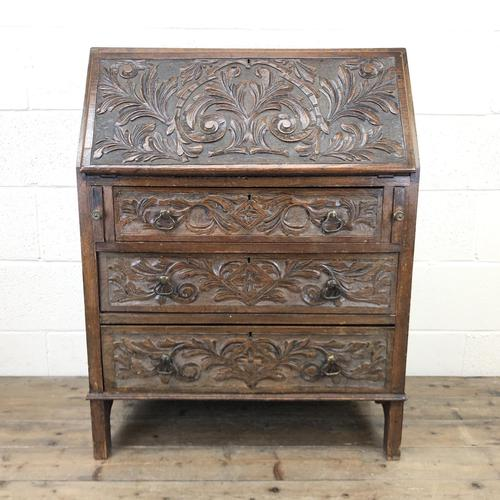 Early 20th Century Oak Carved Bureau (1 of 10)