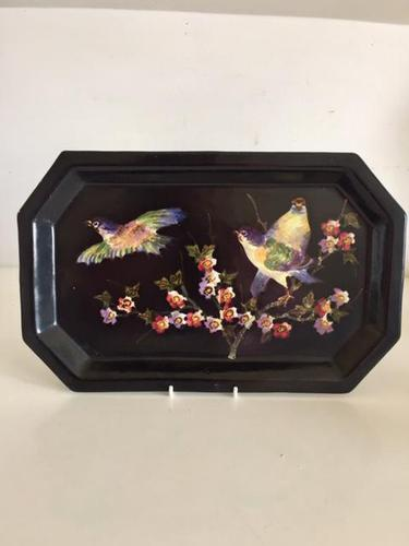Bretby Art Pottery Black Cloisonne Ware Tray With Painted Birds & Blossom (1 of 9)