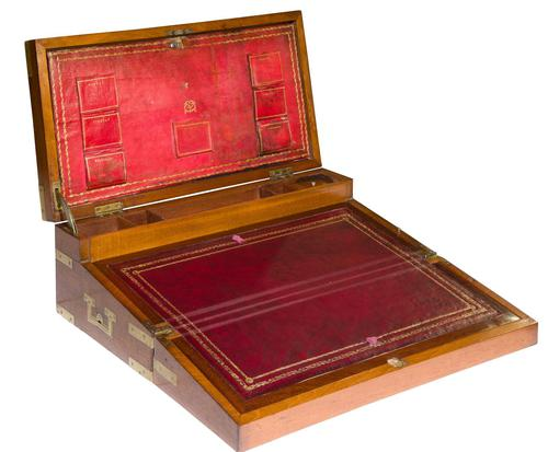 Early 19th Century Brassbound Mahogany Writing Slope with fitted interior (1 of 8)