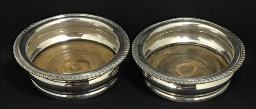 Pair of Edwardian Silver Plated on Copper Bottle Coaster (1 of 5)