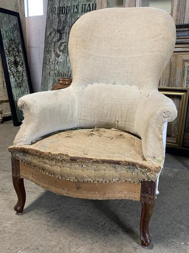 Antique French Balloon Back Armchair (1 of 6)
