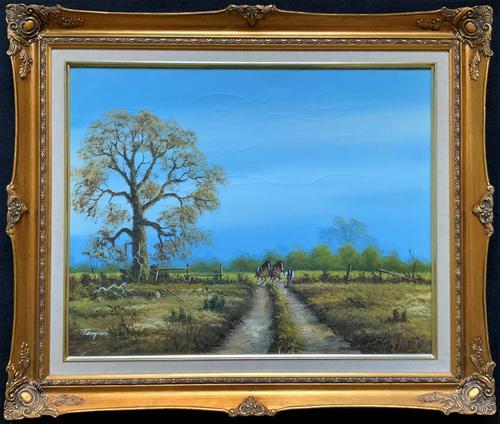 Original 1960s Vintage Antique Country Equestrian Farming Landscape Oil Painting (1 of 11)