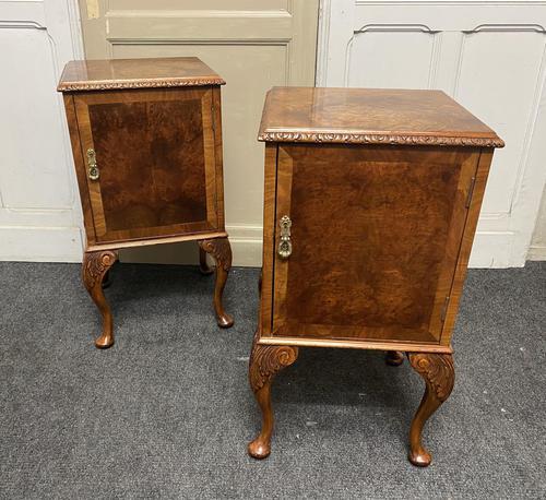 Pair of Burr Walnut Queen Anne Bedside Cupboards (1 of 15)