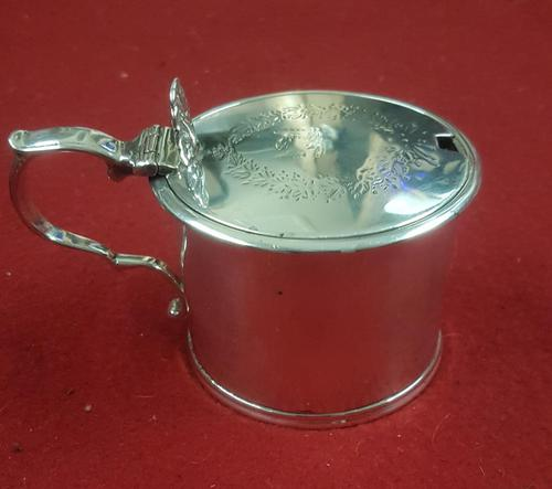 Heavy Sterling Silver Mustard Pot t/w Blue Liner (1 of 4)