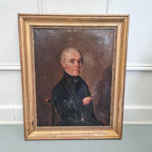 Naive French Oil Portrait 1858 (1 of 4)
