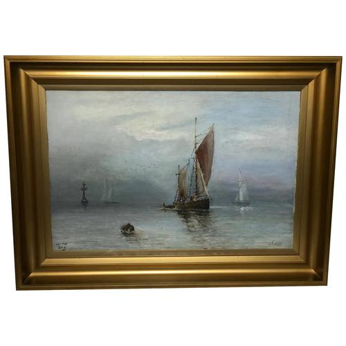 Scottish Marine Oil Painting Sailing Fishing Boats on the Tay Estuary by Dundee (1 of 23)