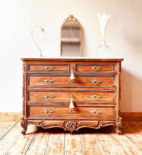 French Antique Style Walnut Chest of Drawers with Marble (1 of 6)