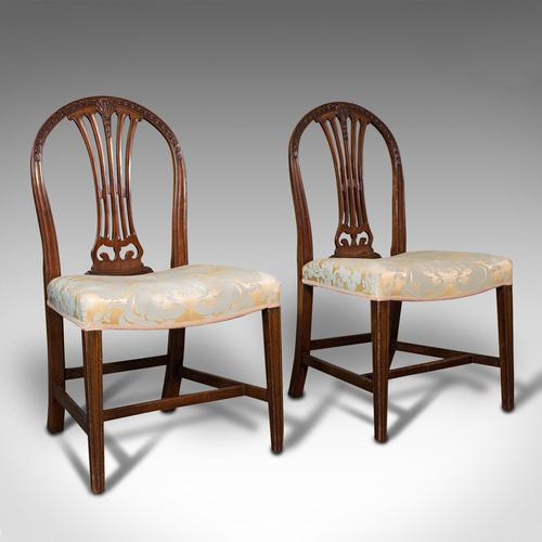Pair of Antique Hepplewhite Revival Side Chairs, English, Seat, Victorian, 1890 (1 of 12)