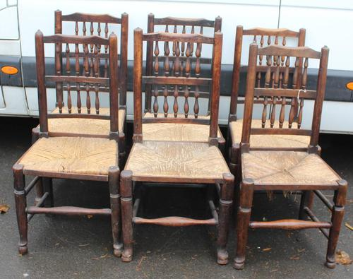 1920's Set 6 Oak Ladderback Dining Chairs with Rush Seats. 4+2 Carvers (1 of 3)