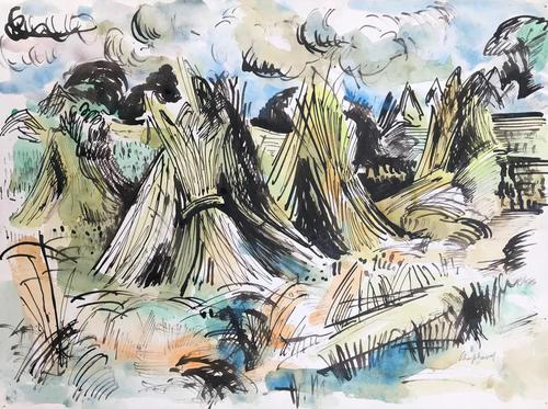 Original Watercolour 'harvest' by Toby Horne Shepherd 1909-1993 c.1965 - Signed Bottom Right (1 of 1)