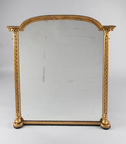 Large English Victorian Gilt Overmantle Mirror (1 of 7)