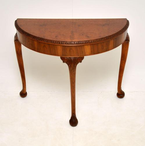 Queen Anne Style Burr Walnut Console Table (1 of 8)