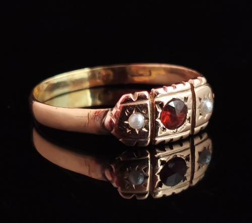Victorian Garnet & Pearl Ring, 9ct Gold (1 of 13)