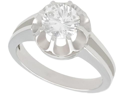 1.05ct Diamond & 18ct White Gold Solitaire Ring c.1930 (1 of 9)