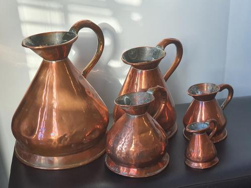 Antique set of 5 x Graduated Copper haystack Jugs Gallon down to Gill (1 of 9)