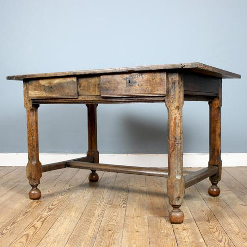18th Century English Twin Drawer Oak Table (1 of 7)