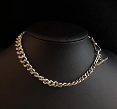 Antique Victorian silver Albert chain (1 of 10)
