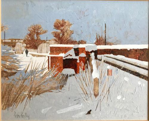 Original gouache 'Snow and sunlight' by Peter Kelly NEAC. RBA. 1931-2019. Signed c.1980 (1 of 3)
