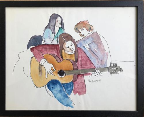 Original Watercolour 'The Guitar Player' by Toby Horne Shepherd 1909-1993 c.1965 - Signed Bottom Right - Framed (1 of 1)
