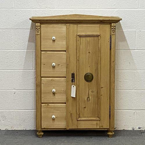 Antique Pine Bread Cupboard with Deep Drawers (1 of 6)