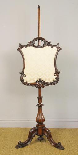 Good Quality Victorian Mahogany Pole Screen (1 of 6)