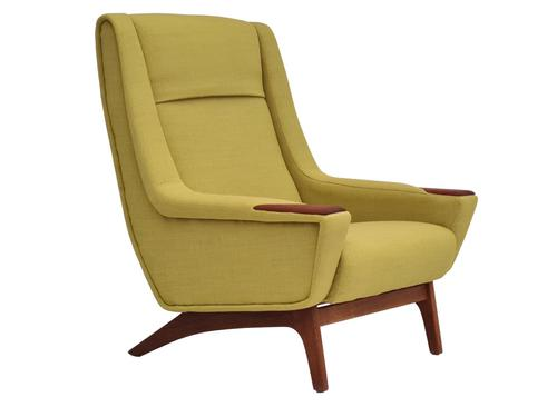 Danish high-backed armchair, reupholstered, 70s (1 of 14)